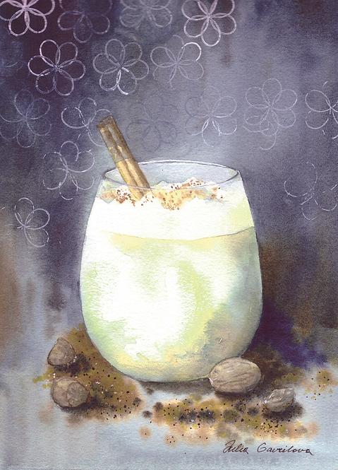 Eggnog cocktail postcard