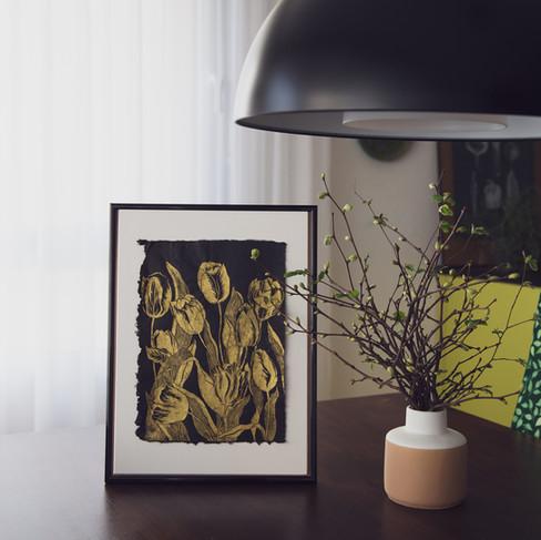 Golden Tulips print