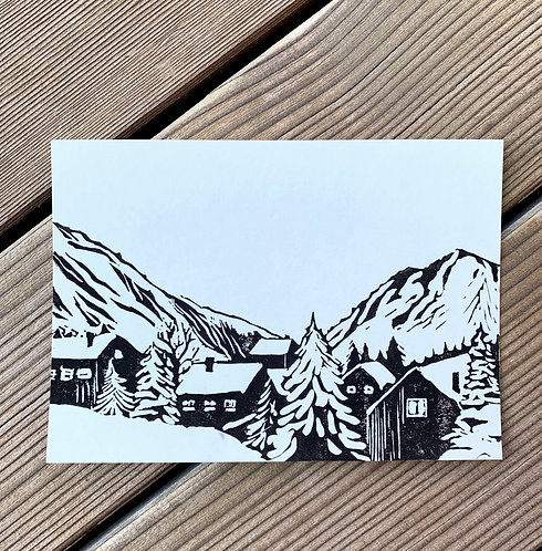Winter in the mountains, a postcard