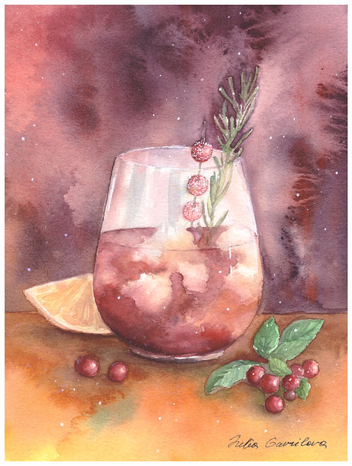 Cranberry Negroni postcard