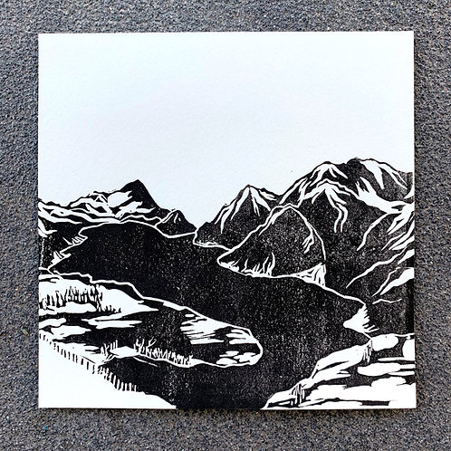 From the top of Stoos, original lino print