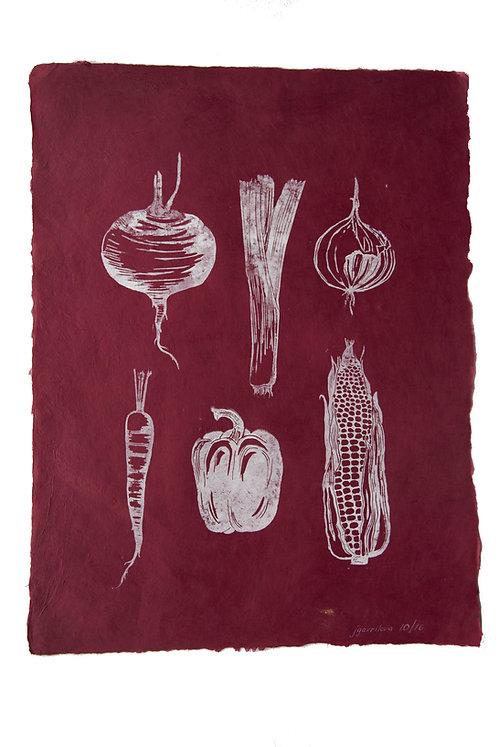 Veggies, original lino print