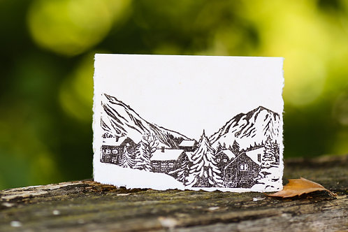 Winter in the mountains, a greeting card and a piece of art in one