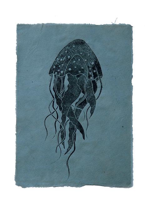 Jelly-fish, original lino print