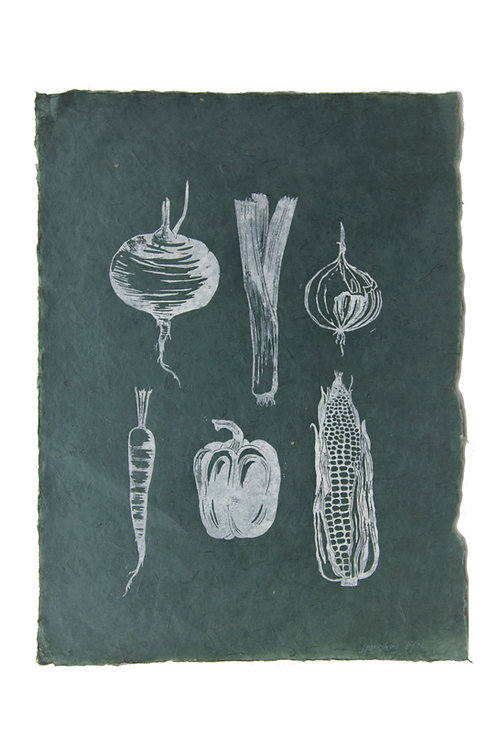Veggies, original lino print