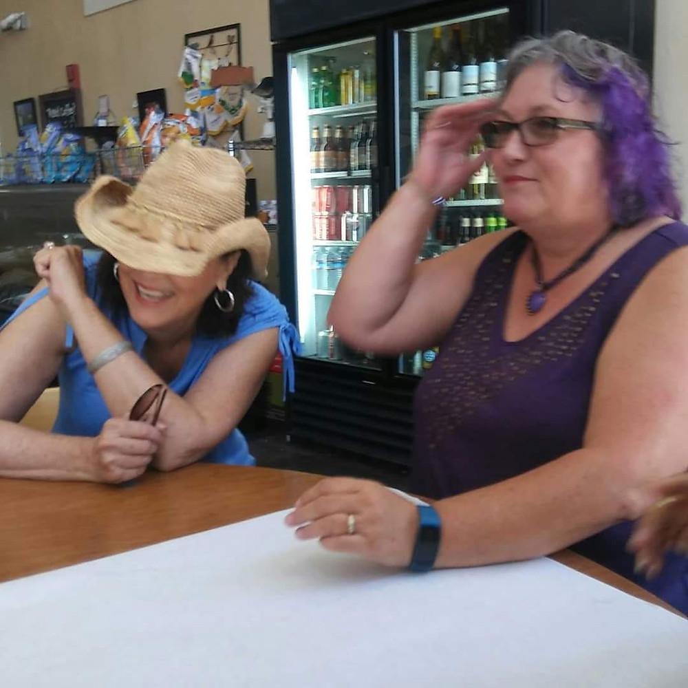 Enjoying purple hair at my son's restaurant, Husick's (shameless plug)