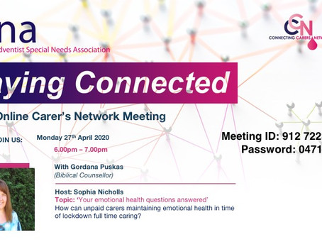 COMING UP: Staying Connected, Part 3!