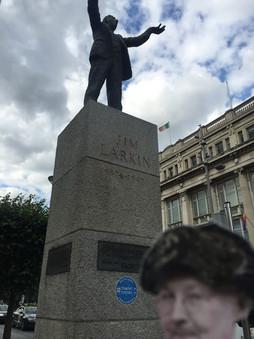 Mother is at Big Jim Larkin's Dublin statue