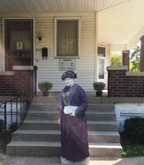 Mother Jones at the front entrance to the Debs Home