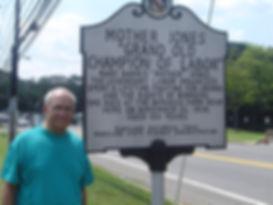 Saul at Mother Jones marker.JPG