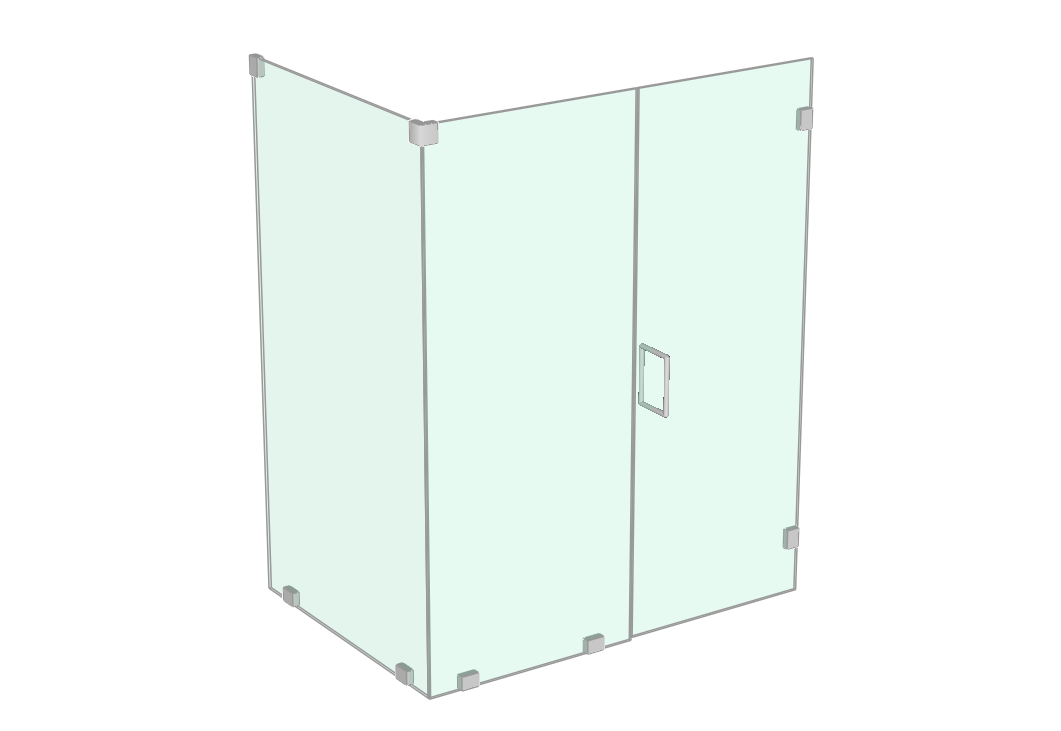 Shower enclosure with return panel