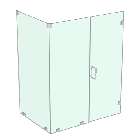 Shower enclosure with return panel
