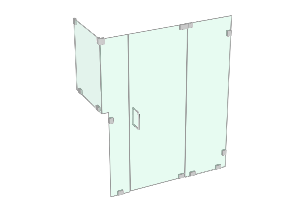 Shower enclosure with two side panels and return