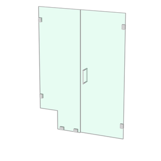 Shower door with notched fixed panel