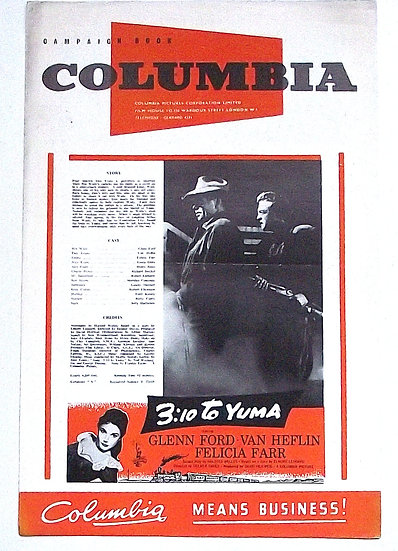 3:10 To Yuma Western Film Starring Glenn Ford Columbia Campaign Book 1957