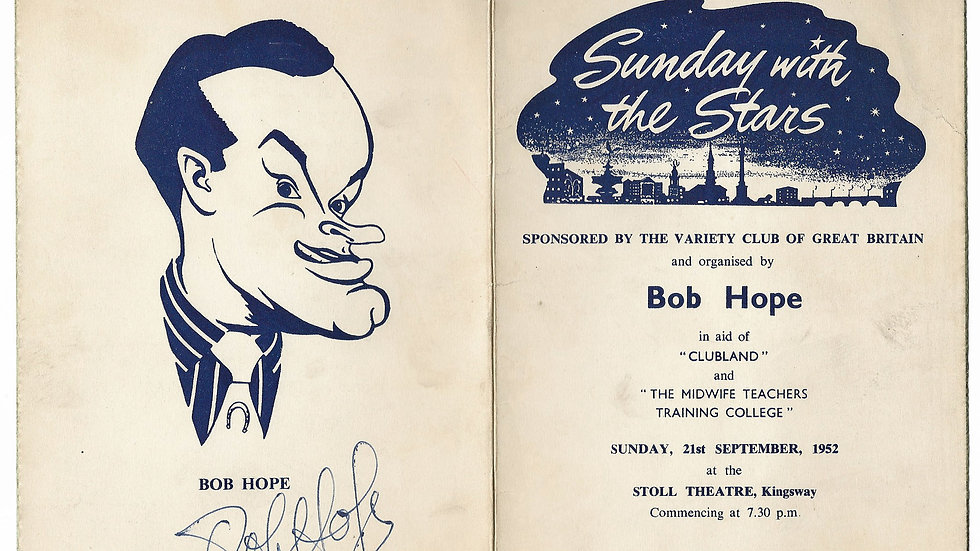 Bob Hope Autographed Programme 1952