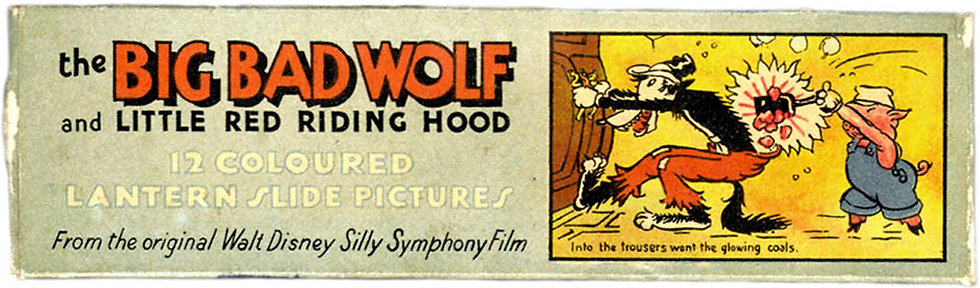 Walt Disney Big Bad Wolf Lantern Slides circa 1930's