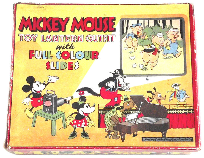 Walt Disney Mickey Mouse Toy Lantern Outfit with Full Colour Slides circa 1930's