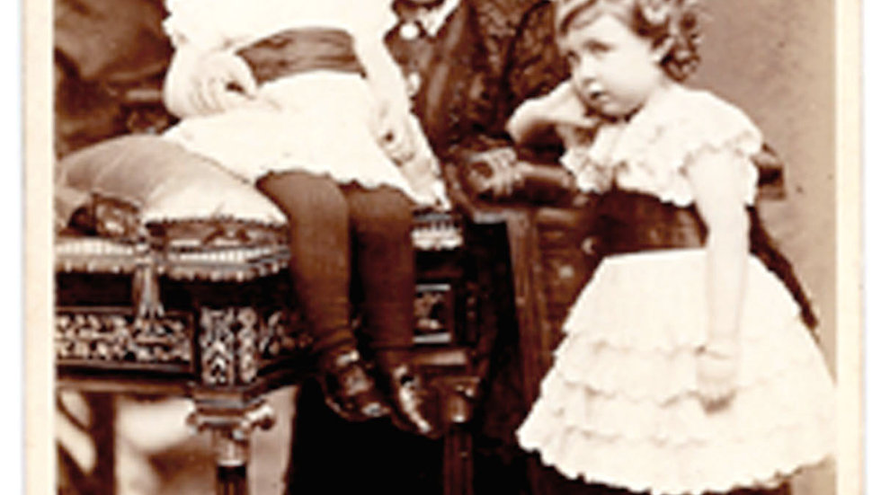 Queen Victoria Rare Cabinet Photograph Seated with 2 Children