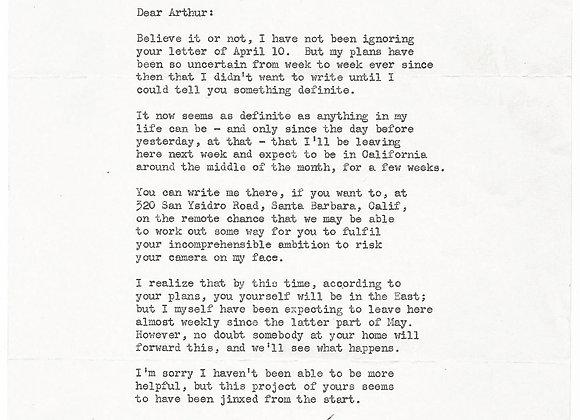 Leslie Charteris Typed Letter Signed 1956