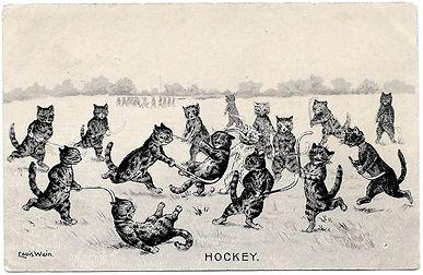 Louis-Wain-Hockey-Embossed-Postcard-Fron