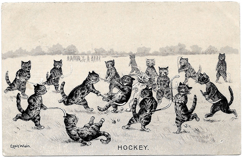 Louis Wain Cats Postcard Hockey 1904