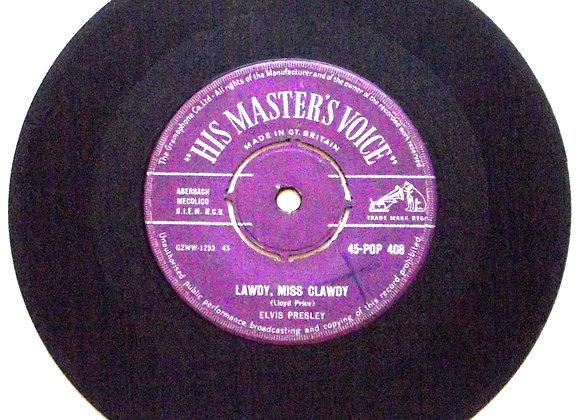 Elvis Presley Lawdy, Miss Clawdy UK Single 45-POP 408 1957