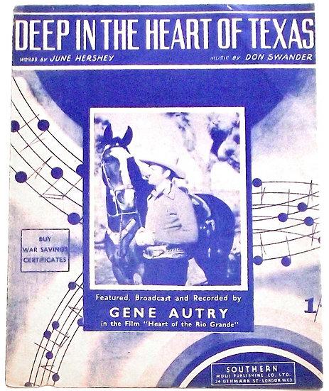 Gene Autry Deep in the Heart of Texas Sheet Music 1942
