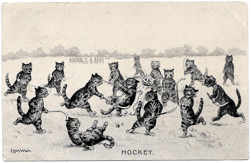 Louis Wain Cats Postcard Hockey 1904