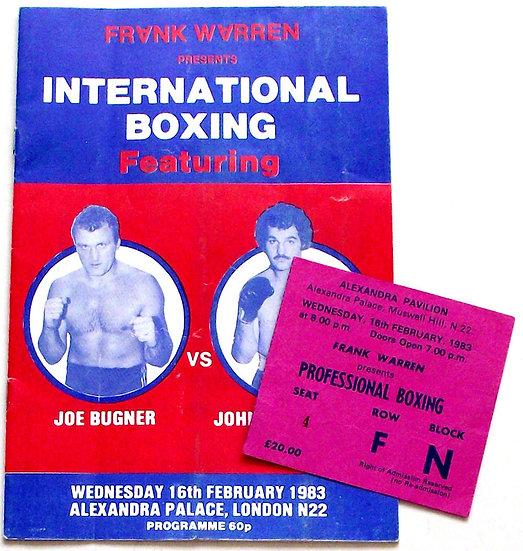 Joe Bugner v John 'Dino' Dennis Boxing Programme 1983