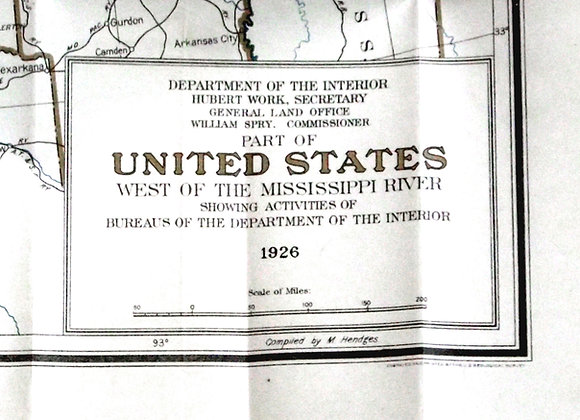 Map of the United States West of the Mississippi River 1926