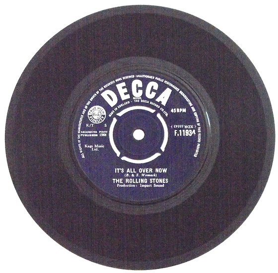 The Rolling Stones Single It's All Over Now & Good Times Bad Times Decca F.11934