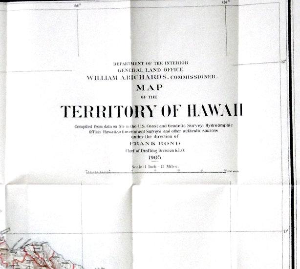 Hawaii Map of the Territory of Hawaii 1905