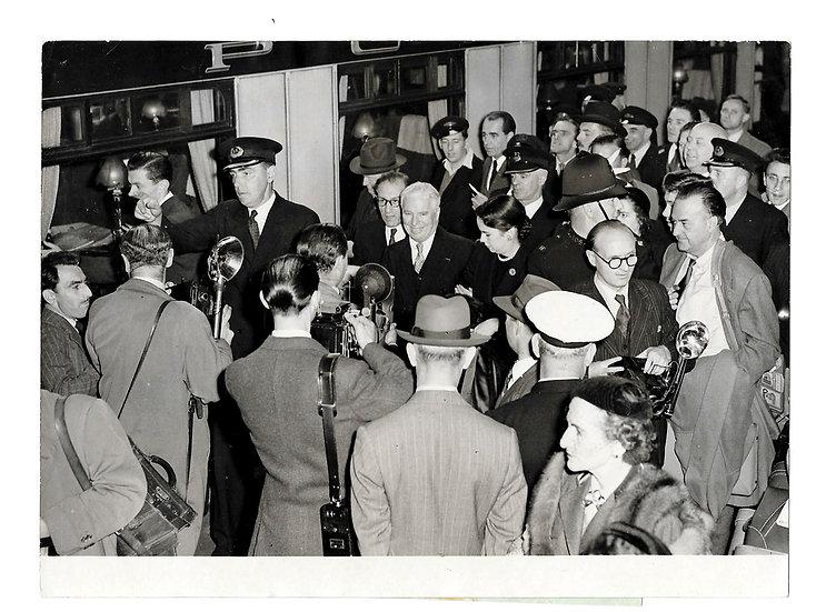 Charlie Chaplin at Waterloo Station Press Photograph 1952