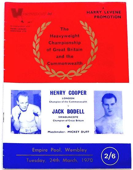 Henry Cooper v Jack Bodell UK Boxing Programme Tuesday 24th March 1970