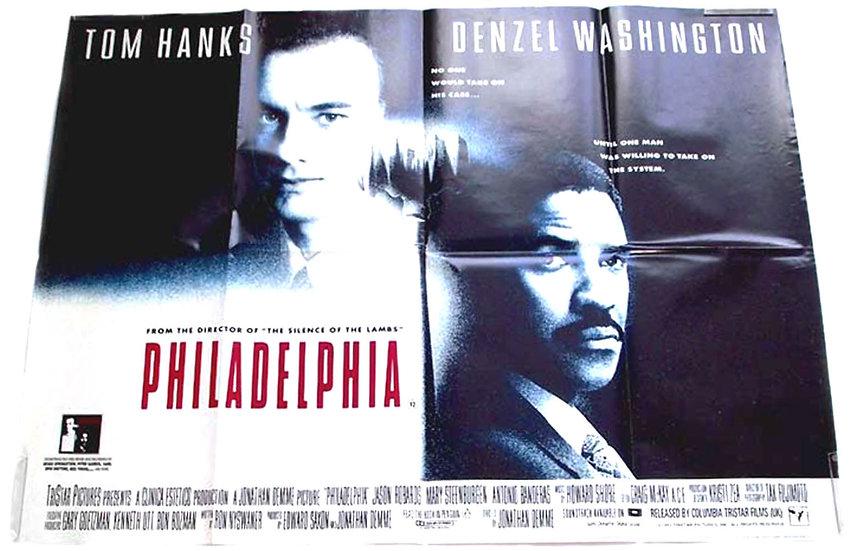 Tom Hanks & Denzel Washington Philadelphia British Quad Film Poster 1993
