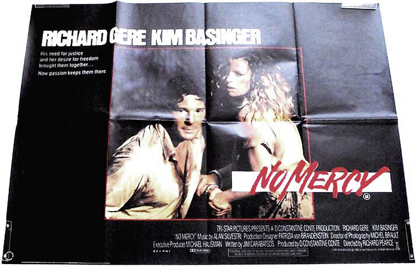Richard Gere & Kim Basinger No Mercy British Quad Film Poster 1986