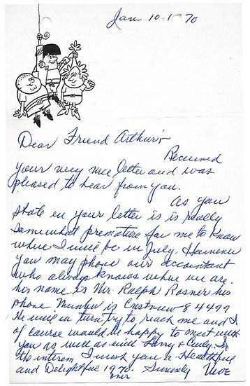 Moe Howard of The Three Stooges Autograph Letter Signed dated 10 January 1970