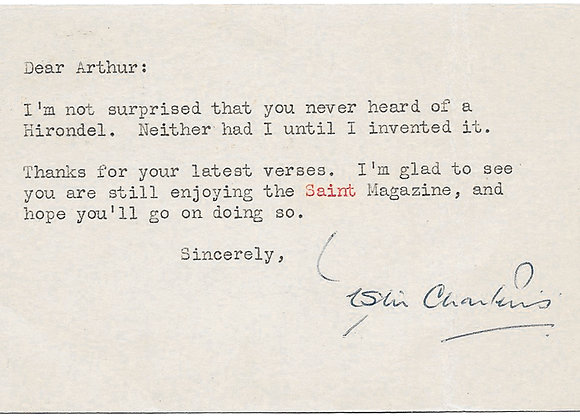 Leslie Charteris Typed and Signed U.S. Postcard 1954