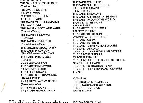 Hodder & Stoughton List of Saint Books Signed by Leslie Charteris 1979