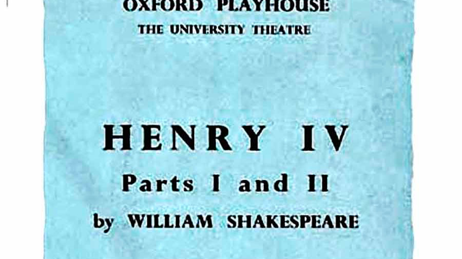 The Henry IV Oxford Playhouse Theatre Programme 1962
