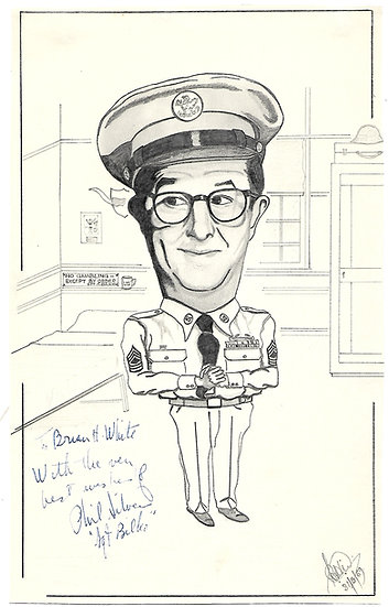 Phil Silvers Autograph on Original Sgt Bilko Sketch