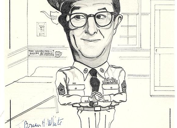 Phil Silvers Autograph on Original Sgt Bilko Sketch