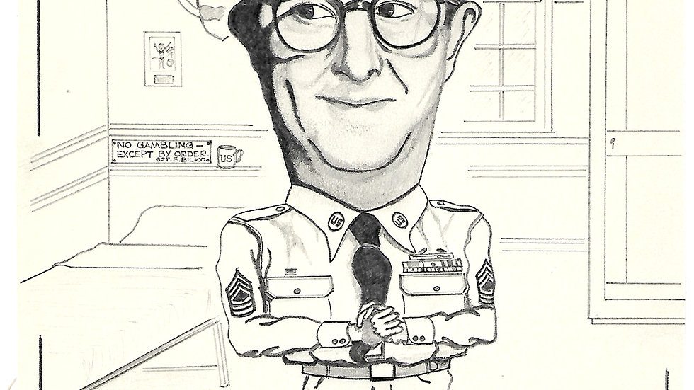 Phil Silvers Autograph on Sgt Bilko Sketch