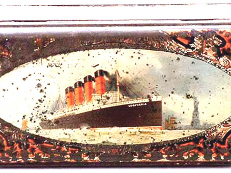 Antique Huntley and Palmers Lusitania Ship 'Export'' Biscuit Tin 1908