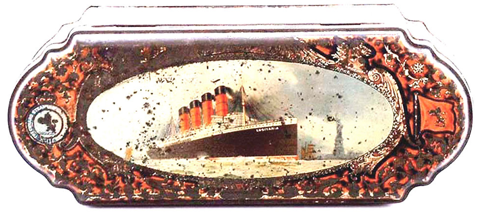 Huntley and Palmers Lusitania Ship 'Export' Biscuit Tin 1908