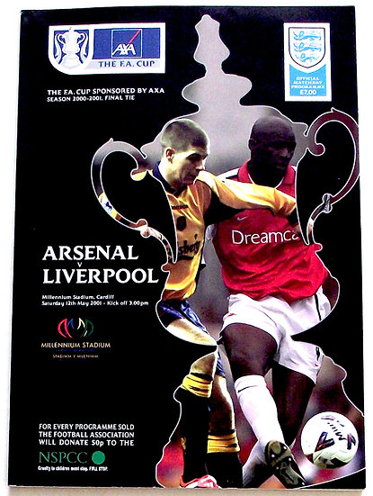 Arsenal F.C. v Liverpool F.C. FA Cup Final Football Programme 2001