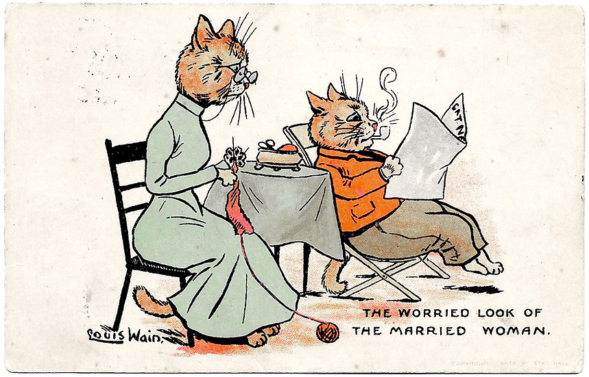 Louis Wain Cats Postcard The Worried Look of The Married Woman Used 1907