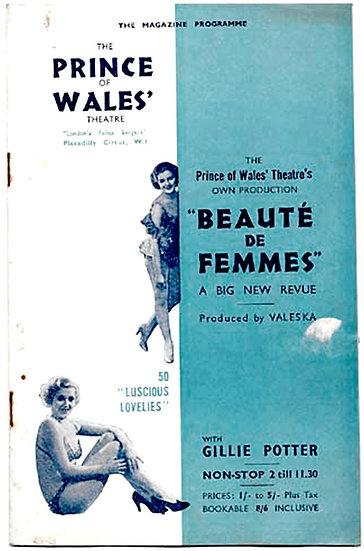 Beauté de Femmes Prince of Wales Theatre Programme 1936