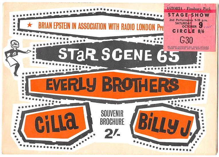Star Scene '65 Concert Flyer 9th October 1965 with Seat Ticket Stub